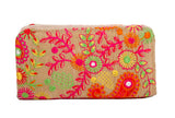 Envie Cloth/Textile/Fabric Embroidered Cream & Multi Zipper Closure Wallet