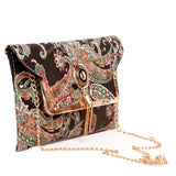 Envie Faux Leather Printed Multi & Black Fold Over Magnetic Snap Sling Bag for Wiomen