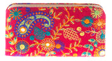 Envie Faux Leather Pink & Multi Zipper Closure Embroidered Clutch