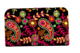 Envie Cloth/Textile/Fabric Embroidered Black & Multi Zipper Closure Clutch