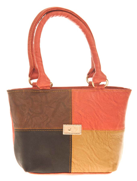 Aliado Faux Leather Solid Multi & Peach Zipper Closure Tote Bag