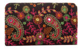 Envie Cloth/Textile/Fabric Black & Multi Zipper Closure Embroidered Clutch