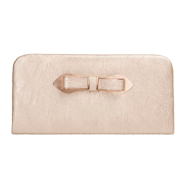 Envie Faux Leather Solid Cream Magnetic Snap Closure Clutch