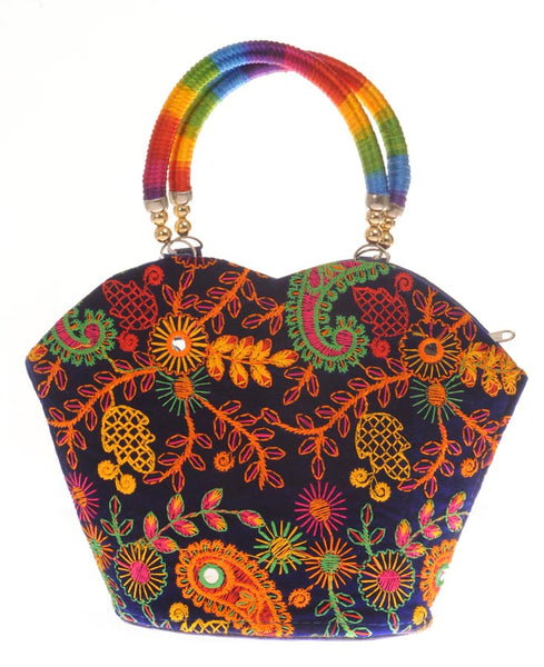Envie Cloth/Textile/Fabric Embroidered Blue & Multi Tote Bag
