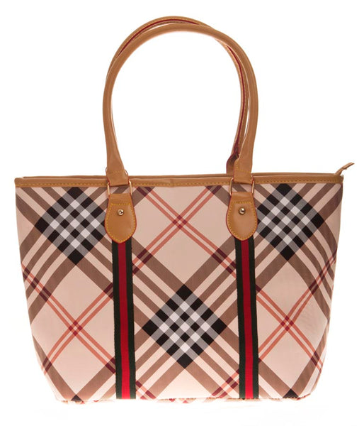 Aliado Cloth/Textile/Fabric Printed Multi & Beige Zipper Closure Tote Bag