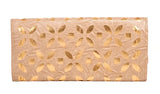 Envie Faux Leather Cream Coloured Magnetic Snap  Closure Embellished   Clutch