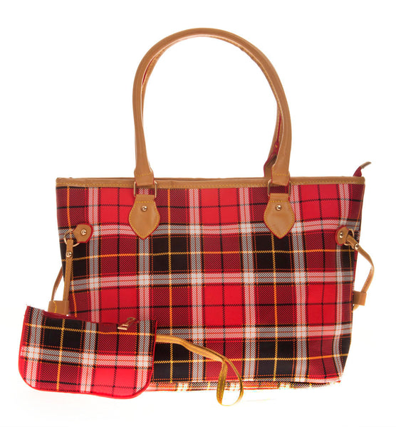 Aliado Cloth/Textile/Fabric Printed Multi & Red Zipper Closure Tote Bag