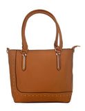Aliado Faux Leather Solid Beige Zipper Closure Stylish Tote Bag