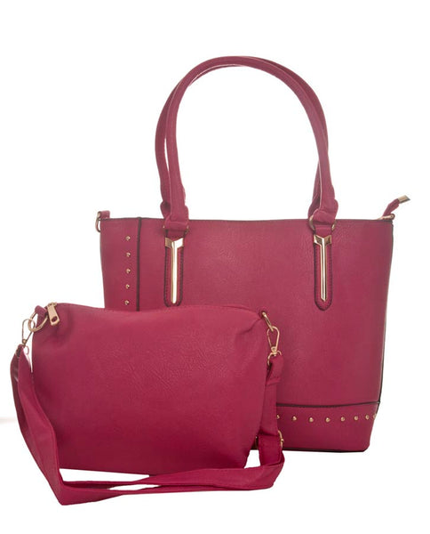 Aliado Faux Leather Solid Pink Zipper Closure Handbag Combo