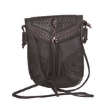 Envie Faux Leather Black Magnetic Snap Crossbody Bag for Women