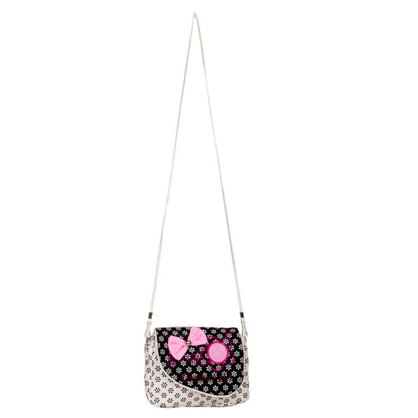 Envie Cloth/Textile/Fabric White & Black Zipper Closure Sling Bag