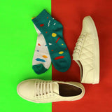 Trendy Lace Up Sneakers (White) & Pack of 2 Socks for Men
