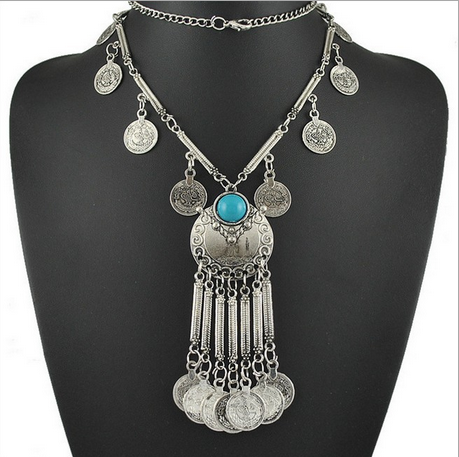 Chica Fashion Jewellery By Fizz : Oxidized Tribal Style Chunky Coin Statement Necklace