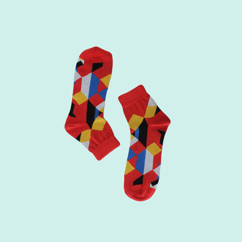 Funky Unisex Fizz Socks: Edges & Colours on Red