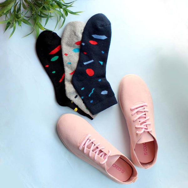 Fashion Sneaker Pretty In Suede (Pink) & Pack of 3 Socks for Women