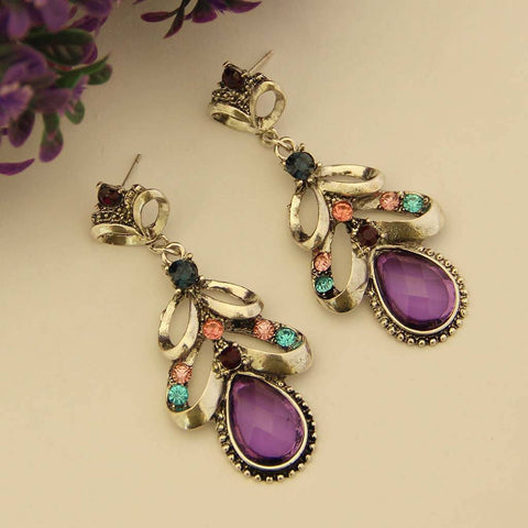 Purple Gemstone Earrings