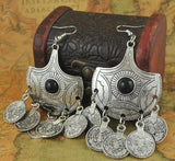 Oxidized Silver Coin Earrings & Floral Handmade Box