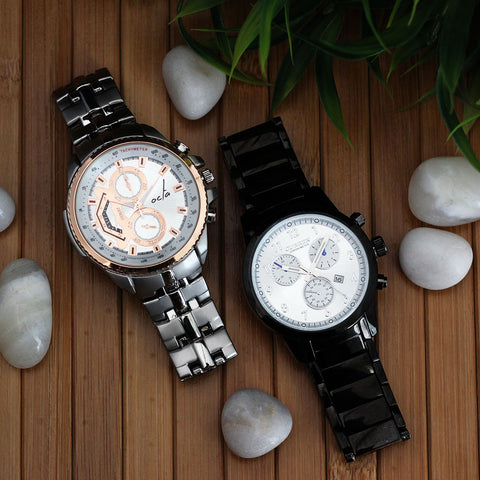 Curren Luxury Watch and Octa Time Vulcan Series (Steel & Rose Gold) for men