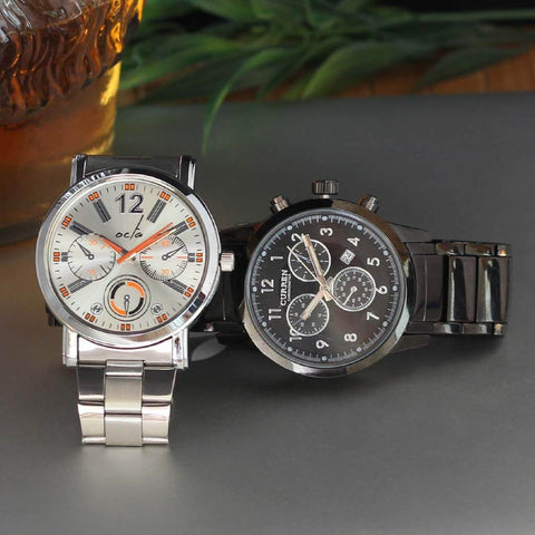 Curren Luxury Watch and Octa Time Vulcan Series (Steel & Orange) for men