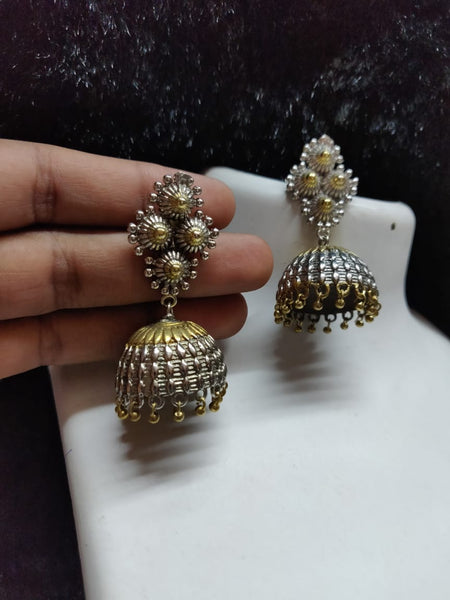 Silver & Gold Tone Antique Jhumki Earrings