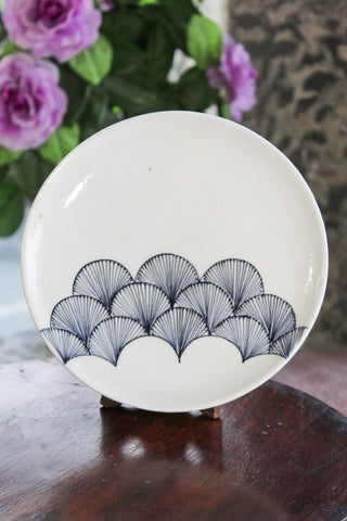 Blue Pottery White Wing Plate