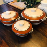 Handmade Ceramic Cambrian Serving Set Of 3 pcs With Lid