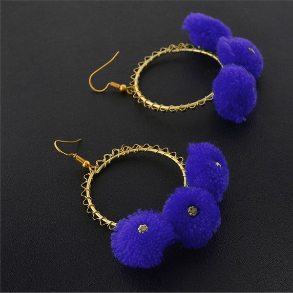 Pom Pom Blue Earrings