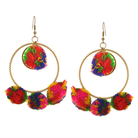 Round Pom Pom Earrings