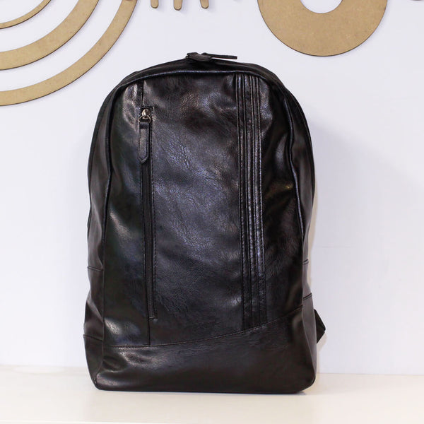 Unisex Black Faux Leather Panelled Backpack