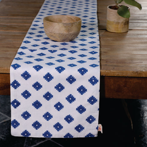 Fanusta Blue Block Print Duck Cotton Reversable Table Runner