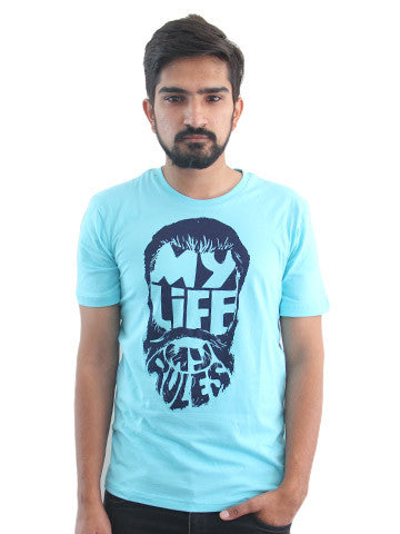 Men's Printed Tees By Fizz: My Life My Rules Blue