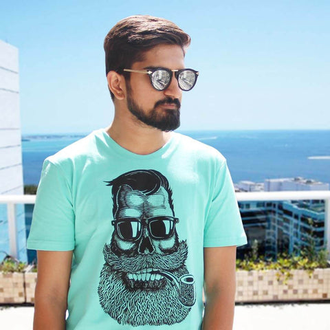 Round Wanderer Sunglasses & Cigar Baba Printed Tee (Sea Green) for Men