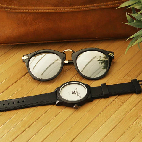 Round Wanderer Sunglasses & Juno Silicon Black (White Dial) Watch for Men