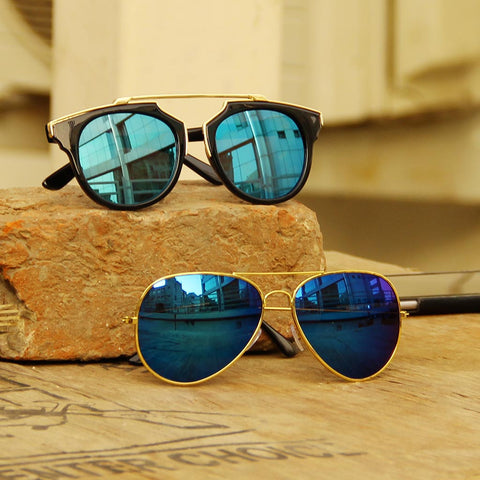 Classic Aeronaut Sunglasses & Wanderer Notch Bridge (Clear Blue) Sunglasses Combo
