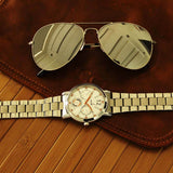 Classic Aeronaut Sunglasses & Vulcan White-Orange Metal Watch for Men