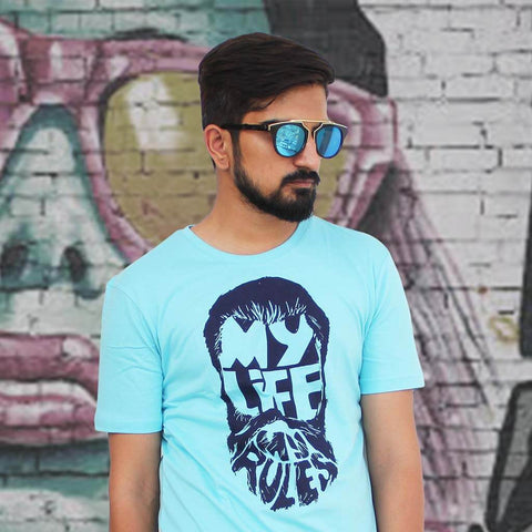 Wanderer Notch Bridge Sunglasses & My Life My Rules Printed Tee (Blue) for Men