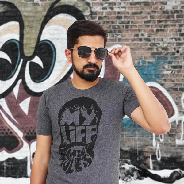 Square Pilot Sunglass & My Life My Rules Printed Tee (Dark Grey) for Men