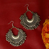 Oxidized Silver Chandbali Earrings
