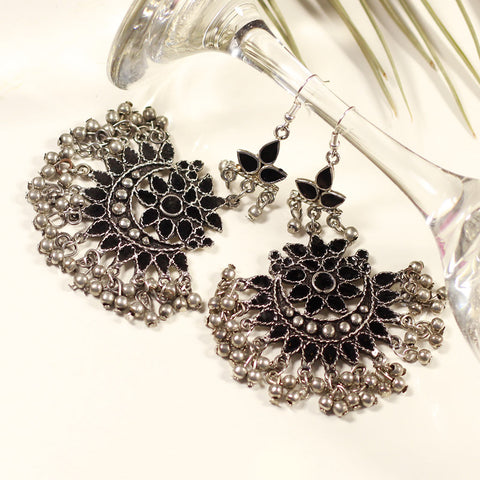 Oxidized Silver Color Earrings