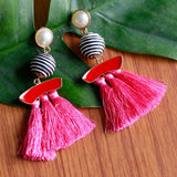 Handmade Tassel & Pearl Costume Jewellery Earrings