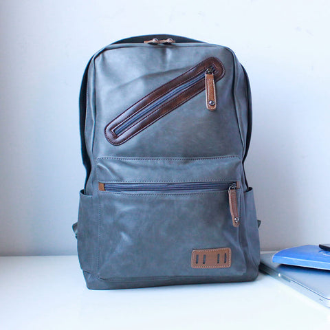 Unisex Faux Leather Grey Laptop Backpack