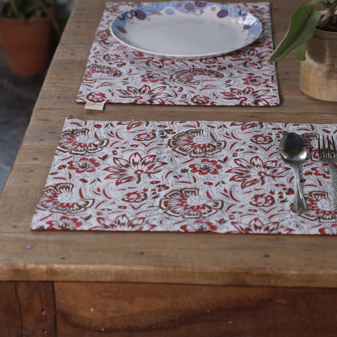 Fanusta Floral Hand Block Print Duck Cotton Table Mats (Set of 6)