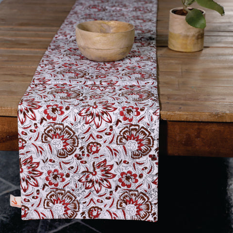Fanusta Floral Hand Block Print Duck Cotton Table Runner