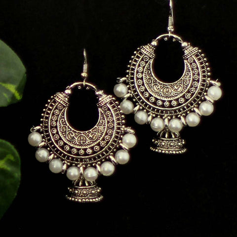German Silver Chandbali Jhumki Earrings