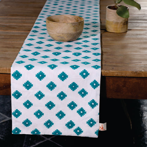 Fanusta Green Hand Block Print Duck Cotton Reversable Table Runner
