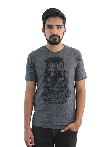 Men's Printed Tees By Fizz: Cigar Baba Dark Grey