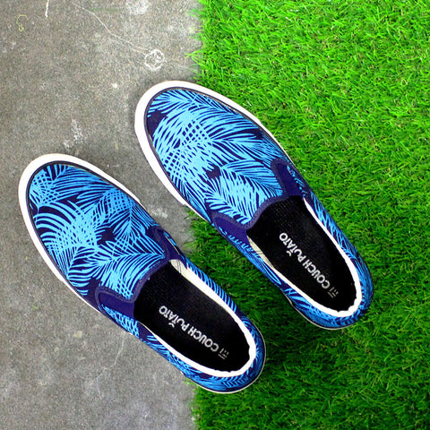 Funky Palm Leaves Print Slip On Sneakers