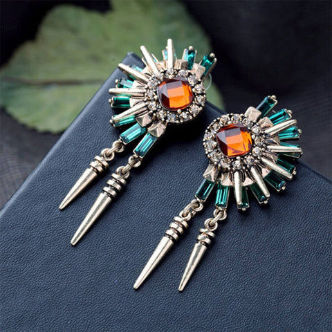 Gemstone Spikes Statement Stud Earrings
