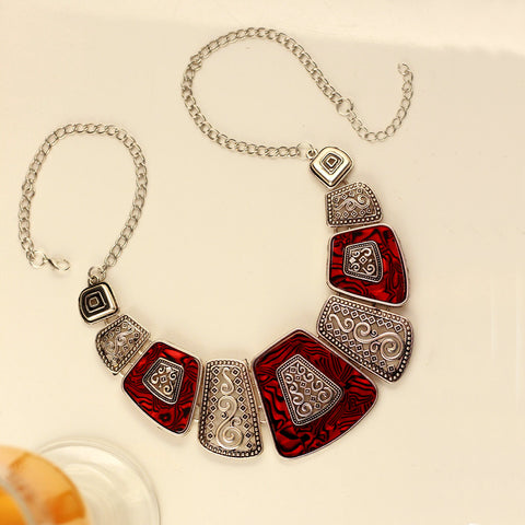 Red Crystal & Silver Collar Necklace