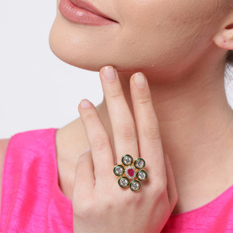 Multi Color Kundan Ring